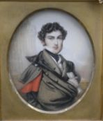 A 19th century gilt framed miniature watercolour portrait, The Hon. Henry Spencer Law, inscribed