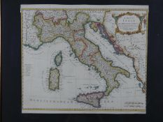 A finely engraved and detailed 18th century map of Italy by Richard Seale. Published in Tindal's