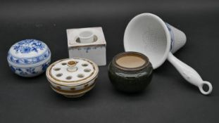 A collection of ceramic items. To include a gilded white metal rimmed Sevres porcelain bowl, an