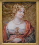 After Sir George Hayter, a 19th century watercolour miniature portrait, Ann Lady Ellenborough, label