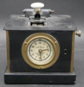 A C.1900 mechanical time recorder machine marked 8 day time stamp to the clock face, by Warwicks