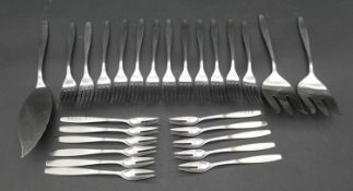 A collection of stainless steel as new Christofle, Paris cutlery. To include eleven pickle forks,