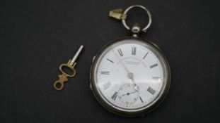 A Victorian silver pocket watch, the Express English Lever by J.G. Graves, Sheffield. With white