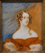 After Sir George Hayter, a 19th century watercolour miniature portrait, The Hon. Frances Henrietta