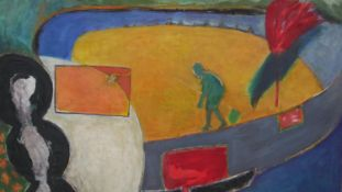 Kyoko Sugai, an oil on canvas, abstract composition, inscribed to the reverse. H.114.5 W.146.5cm