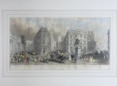 A framed and glazed antique hand coloured engraving of The Bank of England & Royal exchange,