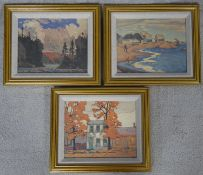 A set of three gilt framed photographic copies of various impressionist style oils on canvas. H.27.5