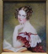 After Sir George Hayter, a 19th century miniature watercolour portrait, The Hon. Mrs Henry