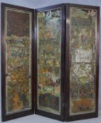 A Victorian scrap screen with three lacquered panels and rosewood frame with gilt slip and all