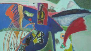 Kyoko Sugai, an oil on canvas, abstract composition. H.137.5 W.152.5cm