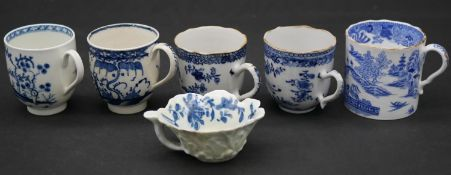 A collection of six antique blue and white porcelain cups. To include an 18th century Worcester blue