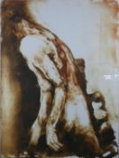 A framed and glazed acrylic on canvas by French artist Danielle Burgart, nude study. Signed by