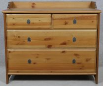 A contemporary Victorian style pine chest of drawers. H.81.5 W.95 D.49.5cm