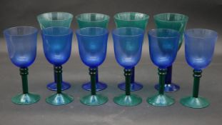 A set of four and a set of six blue and turquoise blown glass goblets. H.21.5cm (Tallest)