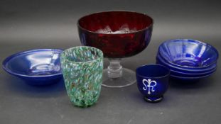 A miscellaneous collection of Art Glass to include a ruby glass comport. H.15cm (Tallest)