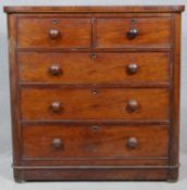 A 19th century mahogany chest of two short above three long drawers on plinth base. H.104 W.103.5