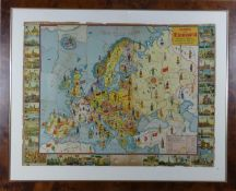 A framed and glazed vintage coloured jigsaw puzzle of 'Mappa de Europa' trajes tipicos banderas