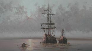 A gilt framed oil on canvas, At Anchor, signed L Alexis. H.78.5 W.109cm
