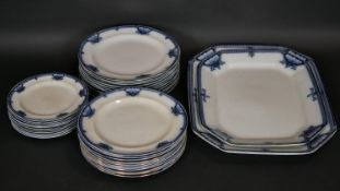 A 19th century service of 22 dinner plates, 11 side plates and two serving platters by Burleigh Ware