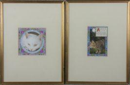 Debby Faulkner-Stevens (B.1954), a pair of framed and glazed watercolours, cat studies with