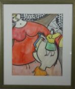 A framed and glazed watercolour with crayon, modernist abstract study with figures, unsigned. H.70