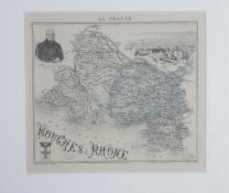 A Framed and glazed antique map of Bouches Du Rhone. Gravé par Barbier and Waltner. Illustrated