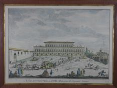 After Giuseppe Zocchi. A framed and glazed 19th century hand coloured engraving of The Pitti Palace.