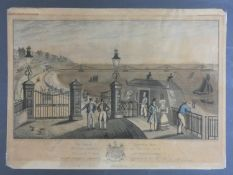 A framed and glazed antique hand coloured engraving of the Entrance of The Chain Pier at Brighton,