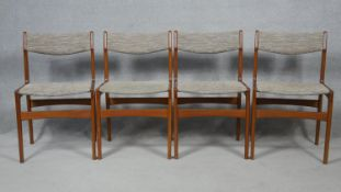 A set of four mid century Danish teak dining chairs by Erik Buch. H.81cm