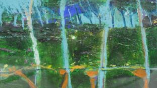 John Brown (B.1945), mixed media on board, New Growth, signed and dated to the reverse. H.37.5 W.