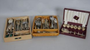 A miscellaneous collection of 19th century and later silver plated cutlery along with a cased set of