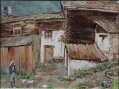 Dutch school oil on canvas, farmyard with buildings and a figure, unsigned in ornate white painted