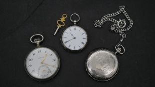 Three pocket watches. Including a silver plated Revue swiss made pocket watch with engraved