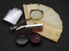 Collection of novelty items. To include a gold plated pair of sprung lorgnettes/magnifying glass