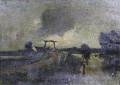 Dutch school, late 19th century oil on canvas, landscape, unsigned. H.67 W.87cm