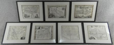 Seven framed and glazed antique engraved maps of various places in Great Britain. Sussex, Isle of