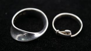 Two Danish silver rings, one designed by Vivannia Torun Bulow-Hube FOR Georg Jensen, a MÖBIUS ring