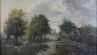 An early 19th century oil on panel, figures in a rural landscape, unsigned in an ornate giltwood and