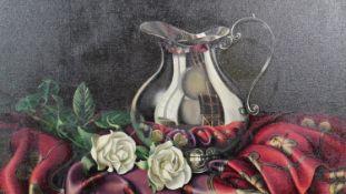 Sabrina Garzelli (B.1968), a gilt framed oil on board, still life, signed. H.60 W.70cm