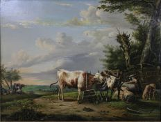 After Albertus Verhoesen (1806-1881), a 19th century oil on panel, cattle and sheep in an
