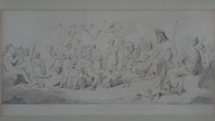 After James Barry, a framed and glazed antique etching of Pandora. Depcting Pandora reclining on a