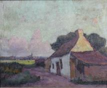An oil on canvas, farmhouse in a country setting, signed J Rese. H.51 W.61cm