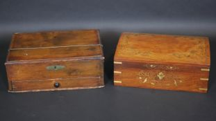 A 19th century fitted box with base drawer along with an Eastern brass inlaid sewing box. H.12.5 L.