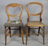 Two 19th century beech framed balloon back bedroom chairs. H.84 W.40 D.42cm