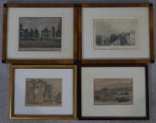 Four antique hand coloured engravings of various places of interest. The magnetic clock,