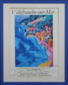 A framed and glazed Jean Harvey print, Villefranche-sur-Mer, signed and inscribed by the artist as a