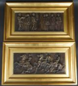 A pair of gilt framed bronzed plaster relief panels, Roman figures and cavalrymen. H.33 W.57cm