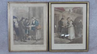 Two framed and glazed antique hand coloured engravings depicting village scenes. H.46 W.36cm