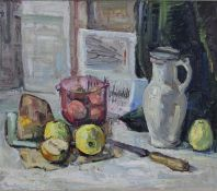 A gilt framed oil on board, Impressionist style still life, indistinctly signed and dated. H.71 W.