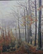 A framed oil on canvas, woodland scene, signed L de Coster. H.64 W.54